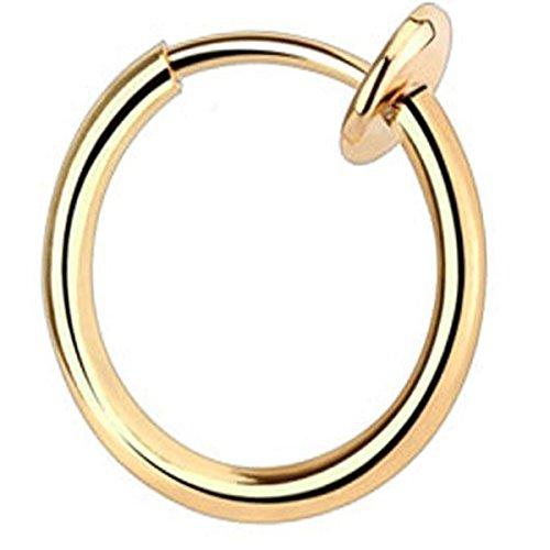 Piersando® Fake Piercing Klemm Hoop Sping Ring Klemmring für Septum Tragus Helix Nase Lippe Ohr Intim Nippel Brust Hufeisen Blau Gold