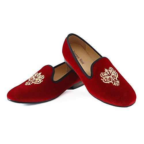 Journey West Herren Vintage Schuhe Samt Slipper Herren Stickerei Noble Herren Schuhe-Slipper Smoking Slipper Mokassins Herren Schuhe Loafers Herren Rot Rebe