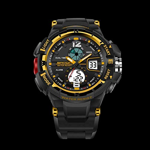 Huacat Herrenuhr Sport Waterproof Mens LCD Digital Analog Quartz Date Alarm Wrist Watch Armbanduhr Braunem Leder Armband Herrenuhren