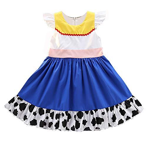 Mädchen Jessie Baumwollkleid Kinder Prinzessin Kostüm Halloween Geburtstag Party Outfit, Mehrfarbig (Jessie Deluxe Kostüm)