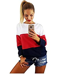TOOGOO(R) Women's New Spring Autumn Fashion Long Sleeve Casual Sweatshirt Bandage Backless O-neck Color Patchwork Pullover Sweatshirt(White,Red & Dark Blue,S/US-4/UK-8)