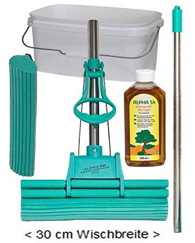 Alpha S4® Original Green DOPPELWRINGER® 30cm - 5 teilig, 1 Ersatzschwamm, 1 Alpha® Original Orangenöl Hochkonzentrat, 1 Edelstahlstiel, 1 Eimer 12 L, die Originale von QVC, RTL, HSE