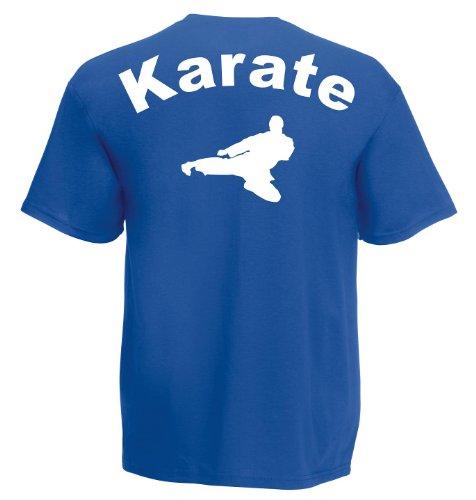 Karate III Backprint T359 Unisex T-Shirt Textilfarbe: blau, Druckfarbe: weiß