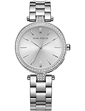 XLORDX Luxus Damen Armbanduhr XL Quarzuhr Silber Edelstahl Strass Armband
