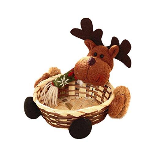 Bebe Navidad Caramelo Cesta Paellaesp Niños Bambú Con Santa Claus Cesta De Almacenamiento Regalo Decoración