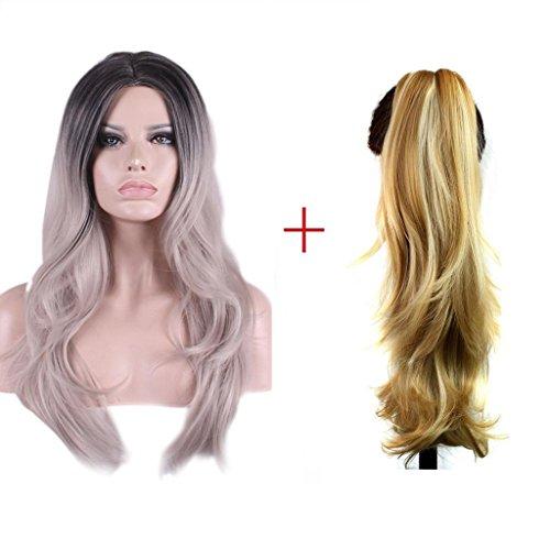 en USA Mode Großmutter grau Verlauf in das lange Volumen der Hochtemperatur Seide chemische Faser Perücke , XL (Ihr Haar Wird Grau Halloween)