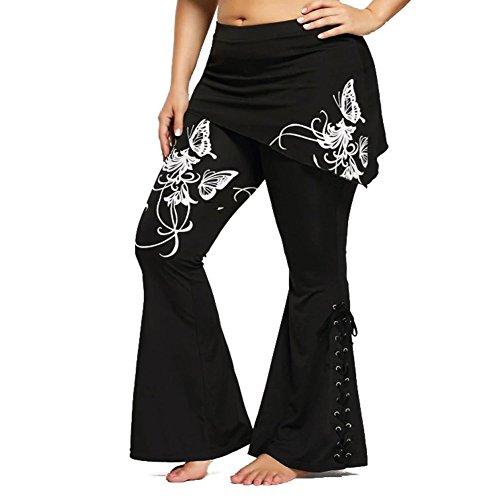 junkai Mujer Cintura Alta Pantalones - Moda Retro Gótico Elástico Jeggings con Minifaldas Floral Impreso Vendaje Pantalones Cómodo Casual Largos Jeggings 4XL