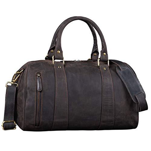 STILORD \'Keanu\' Leder Weekender Herren kleine Vintage Reisetasche zum Umhängen Handgepäck Reisegepäck in Kabinengröße echtes Rindsleder, Farbe:dunkel - braun
