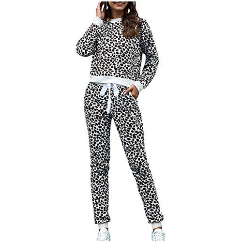 Trainingsanzug Damen Leopard Sweatshirt Sweathose Sportswear-Sets T-Shirt Tops Pants Sets Sportanzug Freizeitbekleidung Lounge Wear Anzug Bekleidungsset, Schwarz, Small