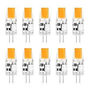Creyer G4 LED Lampen Kein Flackern / 300 lumens / 3W ersetzt 30W Halogenlampen/Warmweiß 2900K / Nicht Dimmbar / G4 LED Leuchtmittel Birne / 12V AC/DC / 10er Pack