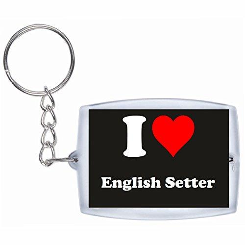 """EXCLUSIVO: Llavero """"I Love English Setter"""" en Negro, una gran idea para un regalo para su pareja, familiares y muchos más! - socios remolques, encantos encantos mochila, bolso, encantos del amor, te, amigos, amantes del amor, accesorio, Amo, Made in Germany."""