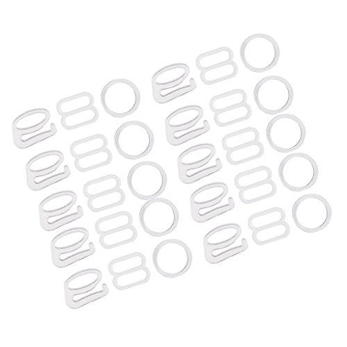 MagiDeal 8/9/o Förmigen Dessous Einstellbar Nähen BH Ringe Schnallen Dessous Set - Weiß, 1 cm
