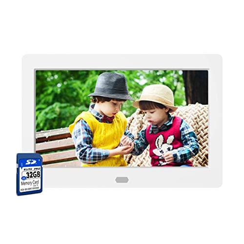 Digitaler Bilderrahmen 7 Zoll mit 32 GB SD Karte NAPATEK Digitaler Fotorahmen 1280x800 Hochauflösender 16:9 FHD IPS-Bildschirm Bildvorschau Videokalender Uhr Auto EIN/Aus Timer Fernbedienung