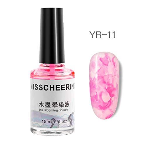 Misscheering Nagelöl 15ml,Xmansky Aquarell Tinte flüssig Nagellack-Gel-Effekt Marmor Gradient...