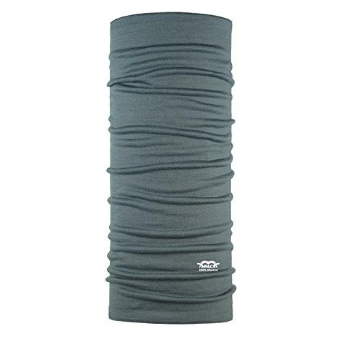 P.A.C. Merino Wool Grey Multifunktionstuch - Merinowoll Schlauchtuch, Halstuch, Schal, Kopftuch, Unisex, 10 Anwendungsmöglichkeiten