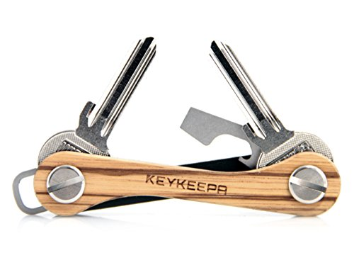 KEYKEEPA aus Holz - Der Schlüssel Organizer MADE IN GERMANY - für bis zu 12 Schlüssel, inklusive Flaschenöffner und Öse (Zebrano)
