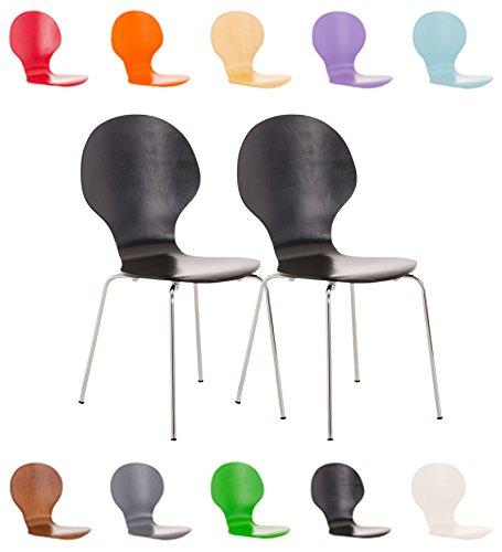 CLP 2X Stapelstuhl Diego ergonomisch geformter Konferenzstuhl mit Holzsitz und stabilem Metallgestell I 2X Platzsparender Stuhl mit pflegeleichter Sitzfläche Grau 1