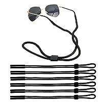 KISEER 6 Pack Adjustable Sunglass Straps Sport Eyewear Retainer Unisex Eyeglass Holder Straps Chains, Black