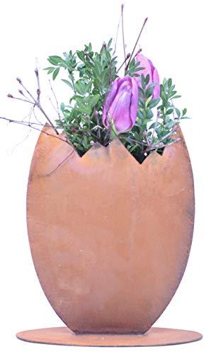 Rostikal | Edelrost Deko Osterei zum bepflanzen | schöne Dekofiguren für Ostern und Frühling 23 cm aus Metall