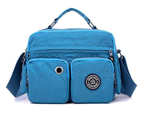 Tiny Chou Handtasche, leicht, wasserdicht, Nylon, oberer Griff, kompakt, Umhängetasche, Schultertasche, mit Taschen Ocean Blue