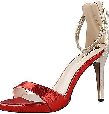 ZQ Zapatos de mujer-Tacš®n Stiletto-Tacones / Punta Abierta-Sandalias-Fiesta y Noche-Terciopelo-Negro / Rosa / Rojo / Plata / Oro / Bermellš®n