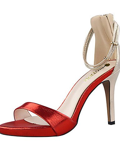 WSS 2016 Chaussures Femme-Soirée & Evénement-Noir / Rose / Rouge / Argent / Or / Bordeaux-Talon Aiguille-Talons / Bout Ouvert-Sandales-Velours silver-us5.5 / eu36 / uk3.5 / cn35