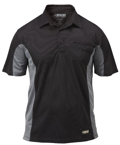 best service 2c57a dcb13 Apache Men s Dry Max Moisture Wicking Polo - Black Grey, Large