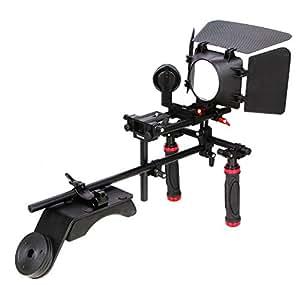 Koolertron - Poignée Grip Main + épaule de montage rig +Follow Focus + Matte Box Pare-soleil + Plateforme adjustable pour Tous les appareils photo reflex numériques DSLR, DV et caméscopes Canon 5D2 60D 7D Nikon etc.