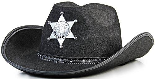 Klassischer Western Sheriff Cowboy Hut in Schwarz mit (Sheriff Mit Stern Hut Schwarzer)