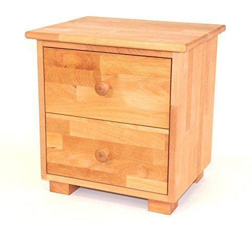 Nachttisch mit Zwei Schubladen, Nachtschrank, Beistelltisch aus Massivholz Buche, geölt, echtes Holz