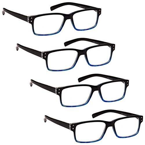 L'azienda Occhiali Da Lettura Speciale 4 Pacco Offrire Nero Blu Lettori Stile Wayfarer Uomo Donna RRRR45-3 Diottria +1,00