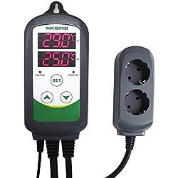 Inkbird ITC-308 Prise Thermostat Numérique 2 Relais 220V Sonde,Controleur Température Refroidissement Chauffage pour Aquarium Terrarium Incubateur Mini Serre Cuve Brassage(ITC-308 Thermostat Standard)