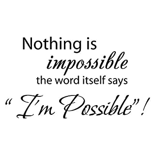 TrifyCore Nothing is Impossible. Wall Stickers the word itself says I'm possible! Decorative Phrase Stickers Wall Phrases in the Bedroom and Living Room Wall Decoration