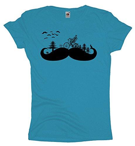 Moustache Land Damen T-Shirt | Kult Hipster Retro Shirt Bart Skyblue