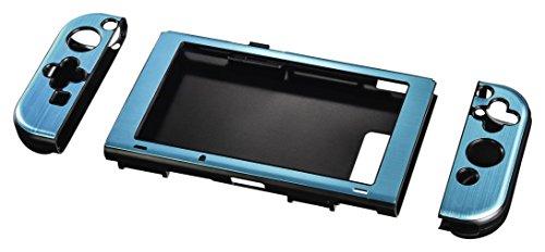 Hama Hardcover Hülle für Nintendo Switch, Metallic-Look, 3-teilig (Cover für Konsole und Joy Cons, ergonomisch für besseren Grip) Slim Bumper, Schutzhülle, Hard-Case metallic-blau
