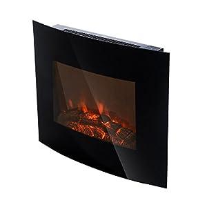 HOMCOM Chimenea Eléctrica Tipo Estufa de Pared con Efecto Leña Ardiendo y Mando a Distancia 900W/1800W 65×11.4x52cm