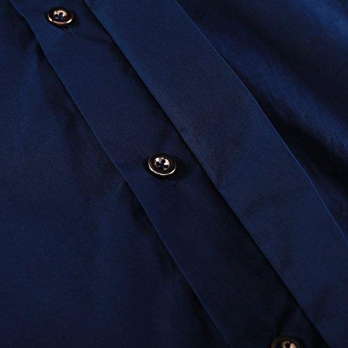 Größe Männer Casual Langarm-Shirt Loses Baumwollhemd Hemd Blue