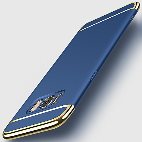 Bigzook Ultra-thin 3in1 Electroplate Metal Texture Plastic Hard Back Case Cover for Samsung Galaxy S8 (Nevy Blue with Gold)