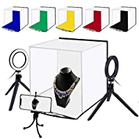 Decdeal Portable LED Photo Lightbox 30 * 30 Centimeter USB Charging Fill Light Studio Softbox with 6 Color Backdrops & Phone Holder for Tabletop Photography