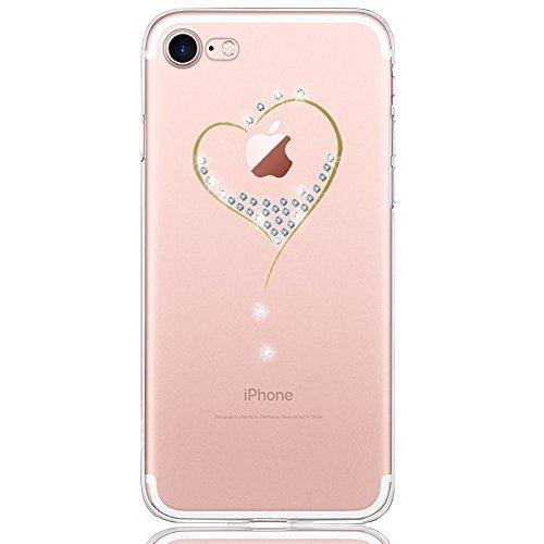 DAPP iPhone 7 Plus / 8 Plus Hülle,  Dolce Vita Serie Transparente Silikon Handyhülle für Damen/Mädchen, Durchsichtig mit Glitzer Kristall Herz Motiv