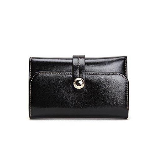 Grande capacità lusso Portafoglio da donna in pelle, borse-Portafogli con portamonete e porta carte di credito e tasca con Pocket Nero