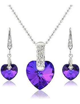 HÜBSCHE LILA BLAU Herz Halskette und passende Ohrringe vergoldet mit weißen Swarovski Elements Kristallen - Schmuckset...