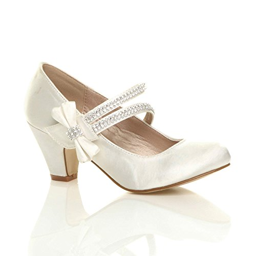 06eaaa6343af1 Ajvani Girls Childrens Low Heel Strap Bridesmaid Party Formal Evening Shoes  Size 10, Ivory Satin Bow, 10 UK