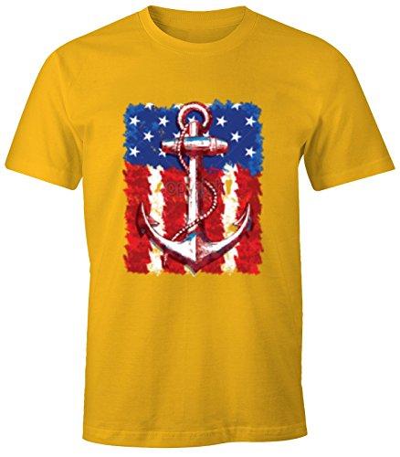 Herren T-Shirt USA Amerika Flagge mit Anker Print Druck Design Gelb