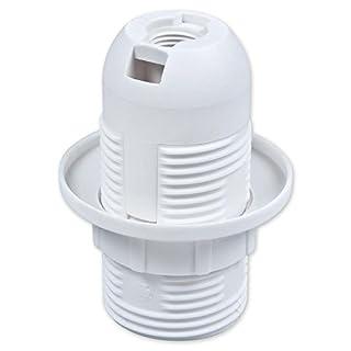 E14 Lampenfassung Kunststoff (PBT), Gewindefassung mit Einbauring Weiß (RAL 9003)