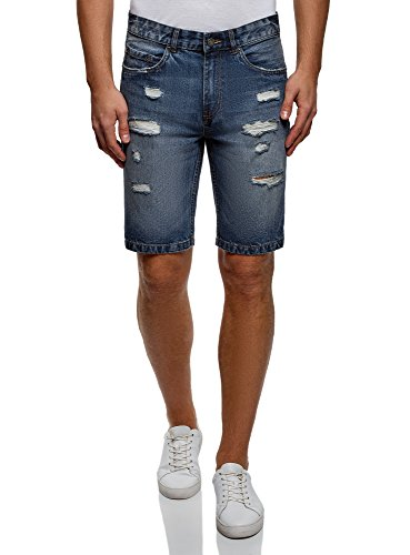 Oodji ultra uomo shorts in jeans strappati, blu, w36 / it 52 / eu 48
