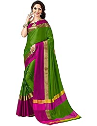 Kiranz Web Store Women`s Cotton Designer Saree With Blouse Piece.(Kirz Web Store)(Green & Pink Color)