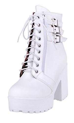 0bfacad207 YE Damen High Heels Pleateau Stiefeletten mit Blockabsatz und Schnalle  Ankle Boots schnüren Herbst Winter Schuhe