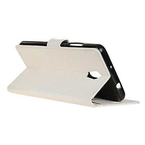 Klassische Litchi Texture PU Leder Schutzhülle Hülle Folio Flip Stand Case Cover mit Kartensteckplätzen für Lenovo Vibe P2 ( Color : Black ) White