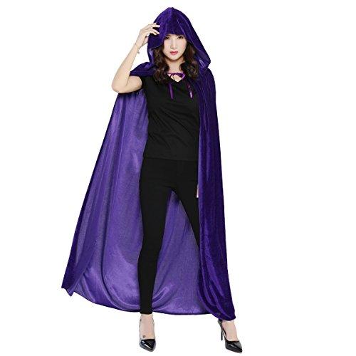 Lila Samt Mit Kapuze Kostüm Cape - Huntforgold Umhang mit Kapuze Lange Samt